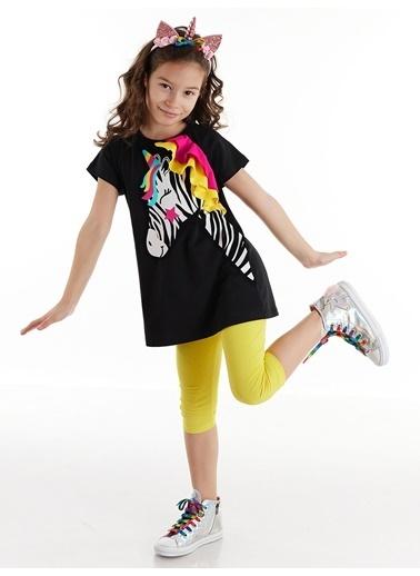 Denokids Zebracorn Siyah Kız Tunik Takım Renkli